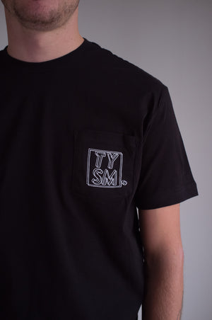 LP Pocket Tee Black/White - thankyouapparel