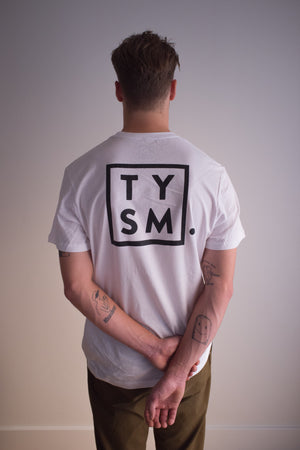 TYSM Box Tee White/Black - thankyouapparel