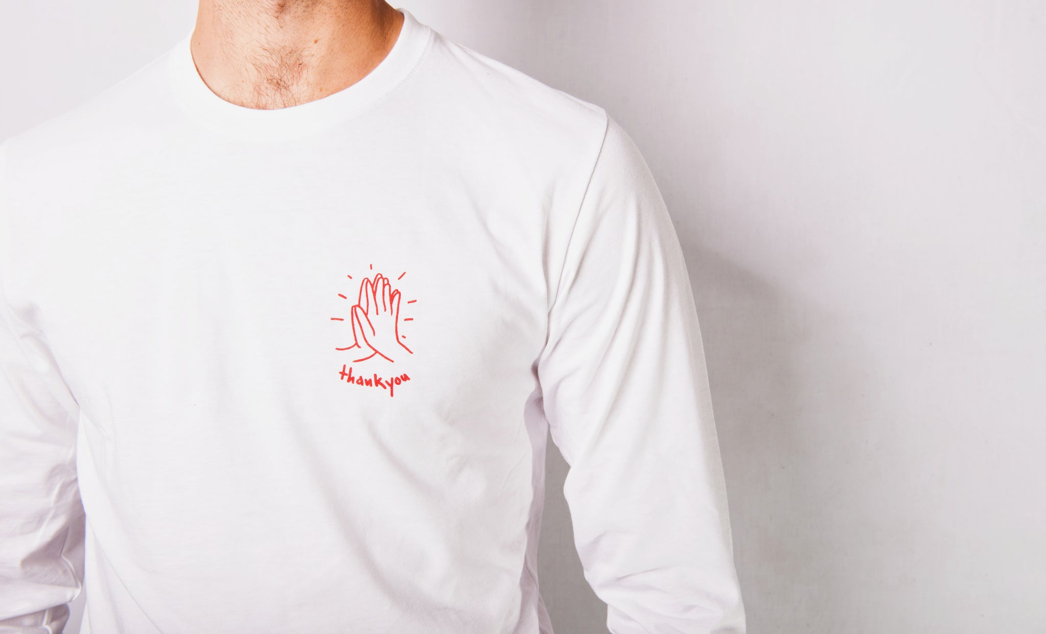 Hi-Five Long Sleeve White/Red - thankyouapparel