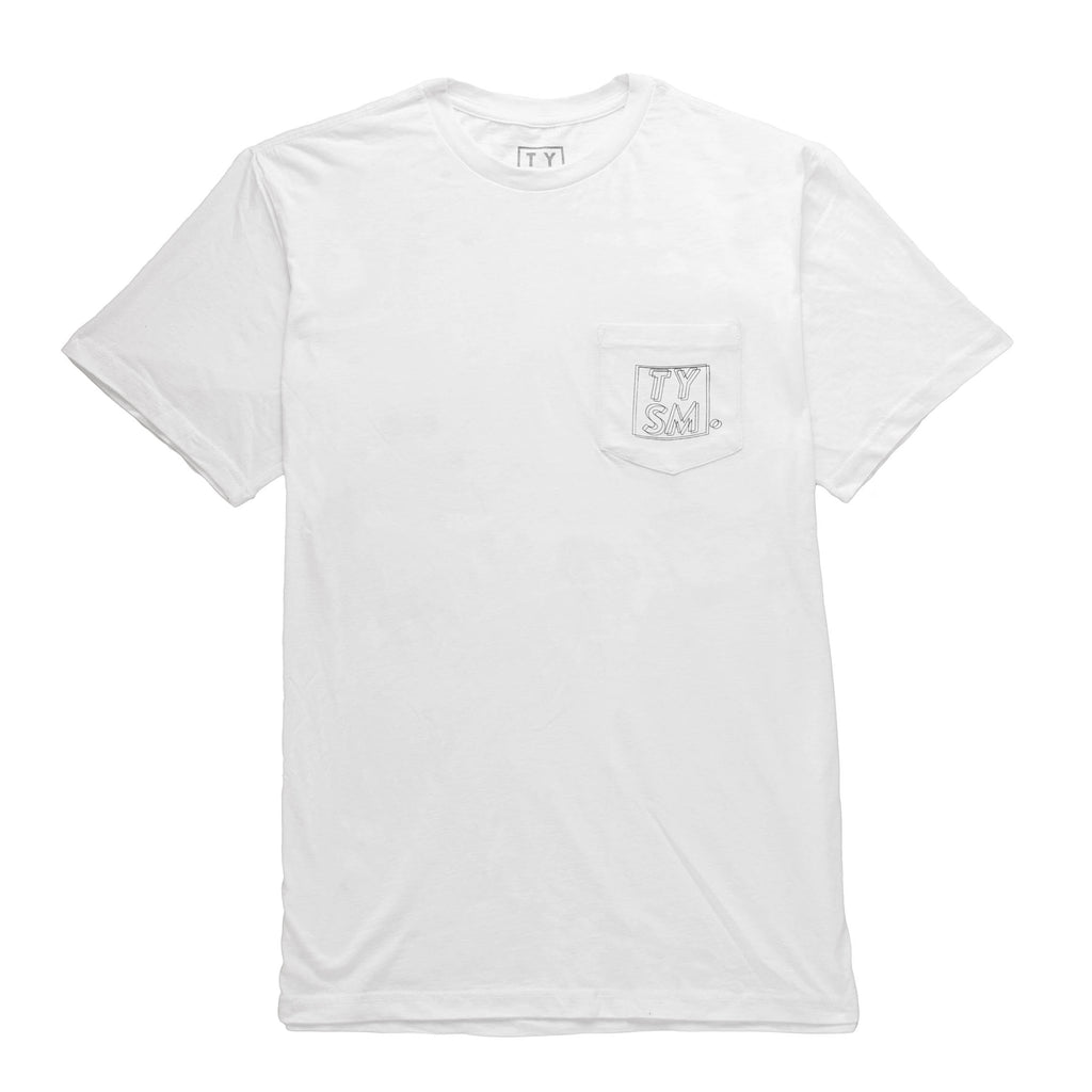 LP Pocket Tee White/Black - thankyouapparel