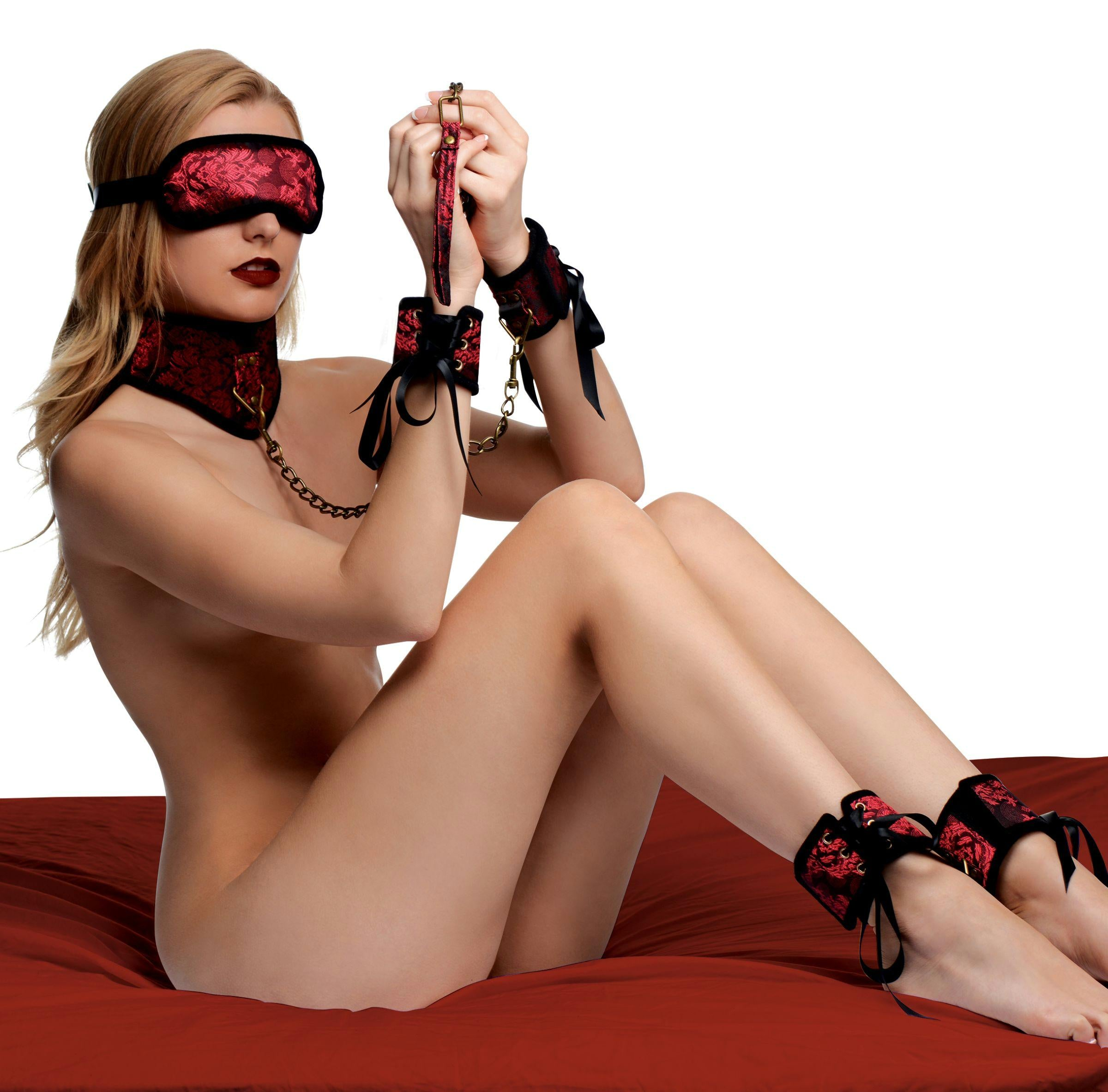 Red Dragon 5 Piece Satin Bondage Set