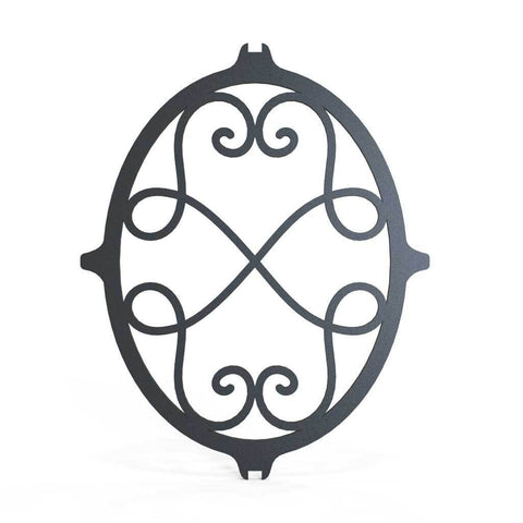 Rail Head - Round Fleur De Lis - Cast Iron - Round Base