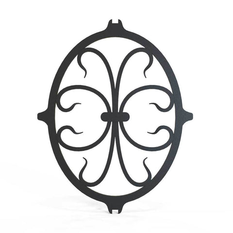 Rail Head - Square Fleur De Lis - Cast Iron - Square Base