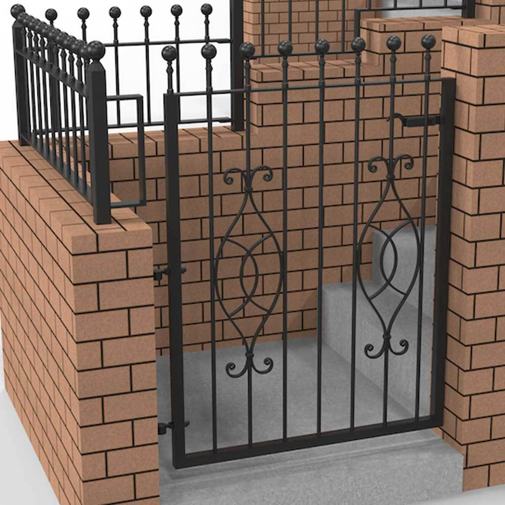 Garden Gate - Putney - Style 8A -  Wrought Iron Garden Gate With Latch