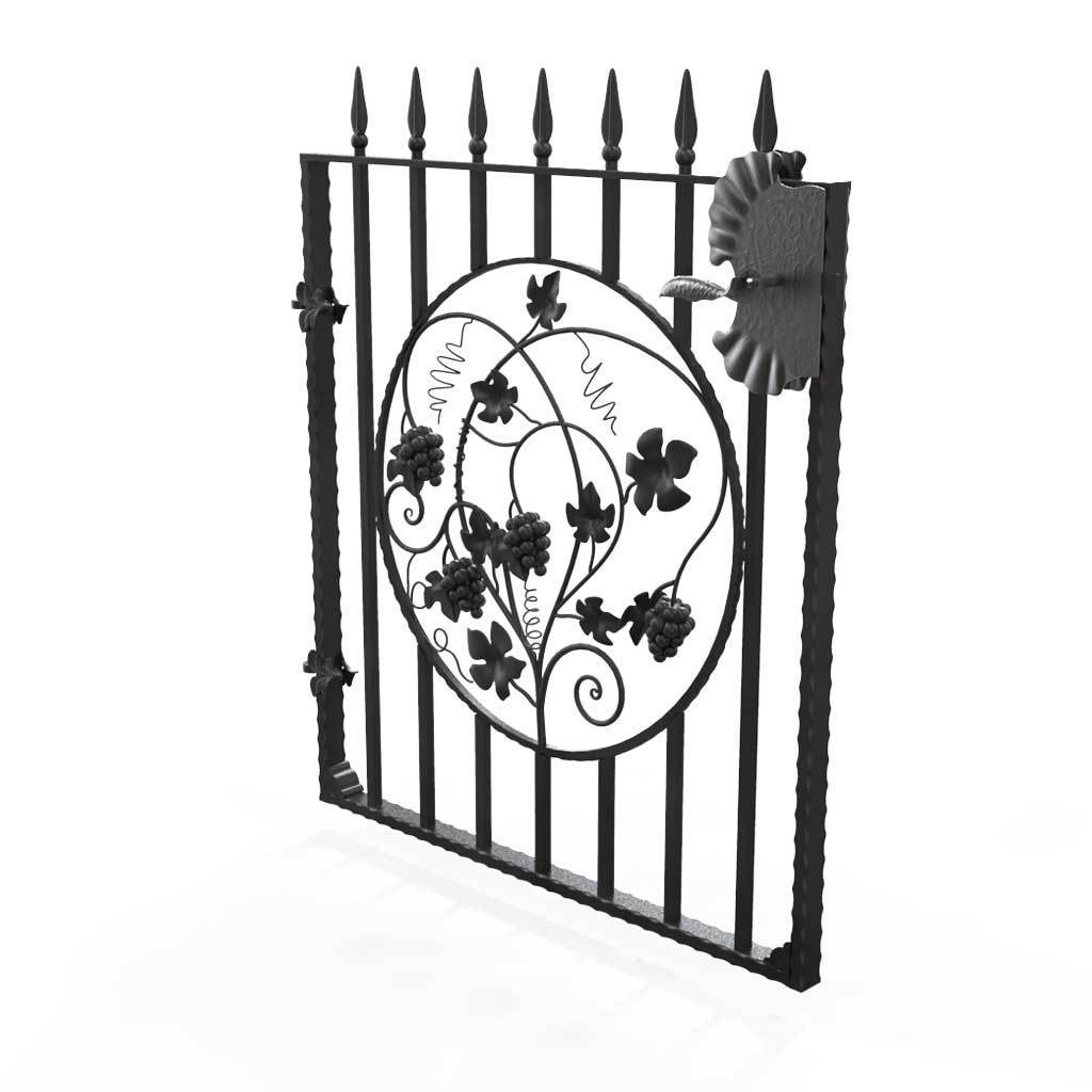 Garden Gate - St Albans - Style 7D -  Garden Side Gate With Decorative Panel And Lock