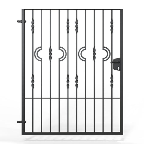 Putney - Style 8A -  Wrought Iron Garden Gate with latch