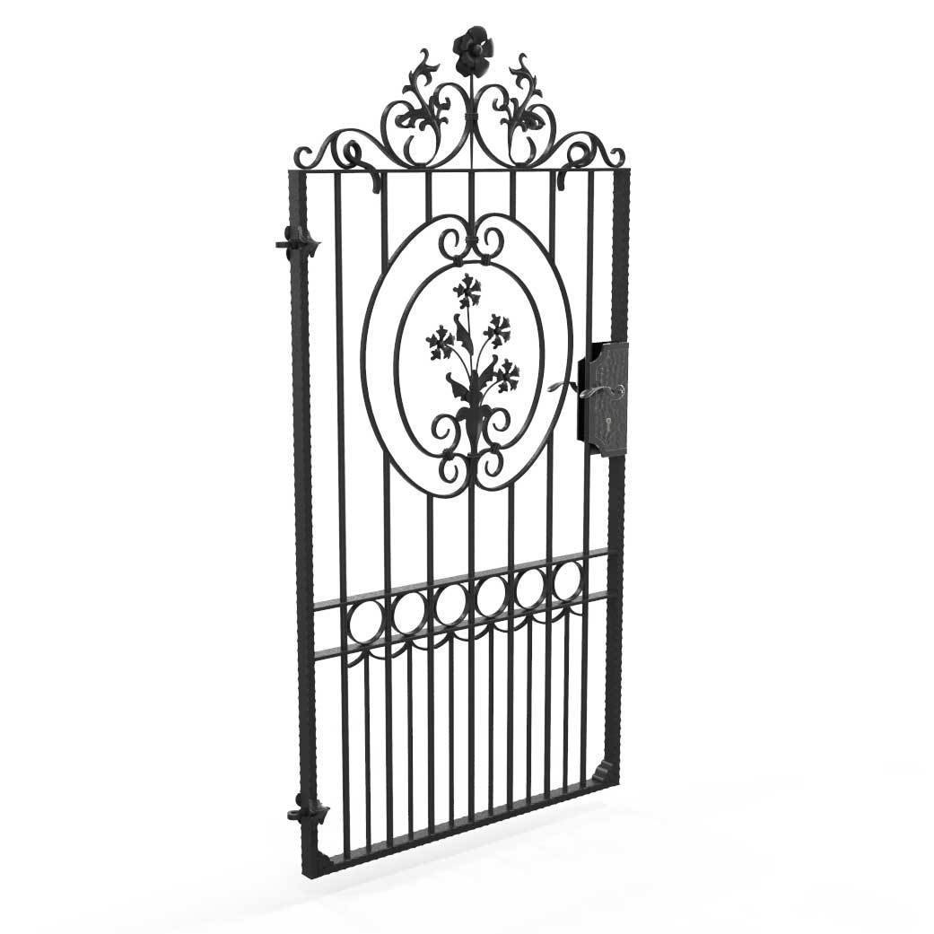 Gate Topper - Wrought Iron Gate Topper - Ornate Flower