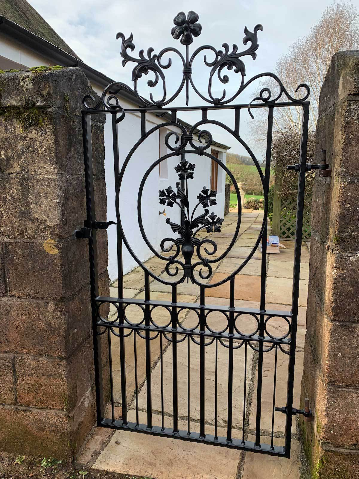 Gates - Salisbury - Style 1A - Tall Wrought Iron Side Gate With Decorative Panel, Gate Topper And Lock
