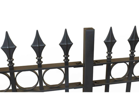 Newquay - Style 21D - Wrought Iron Railing with Double Astral Pattern and Martel Panel