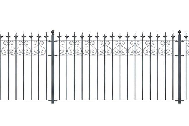 Railings - Canterbury - Style 16A - Wrought Iron Railing With Flame Rail Head