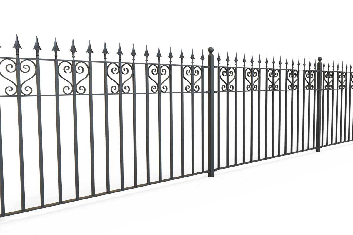 Railings - Canterbury - Style 16B - Wrought Iron Heart Decorative Railing