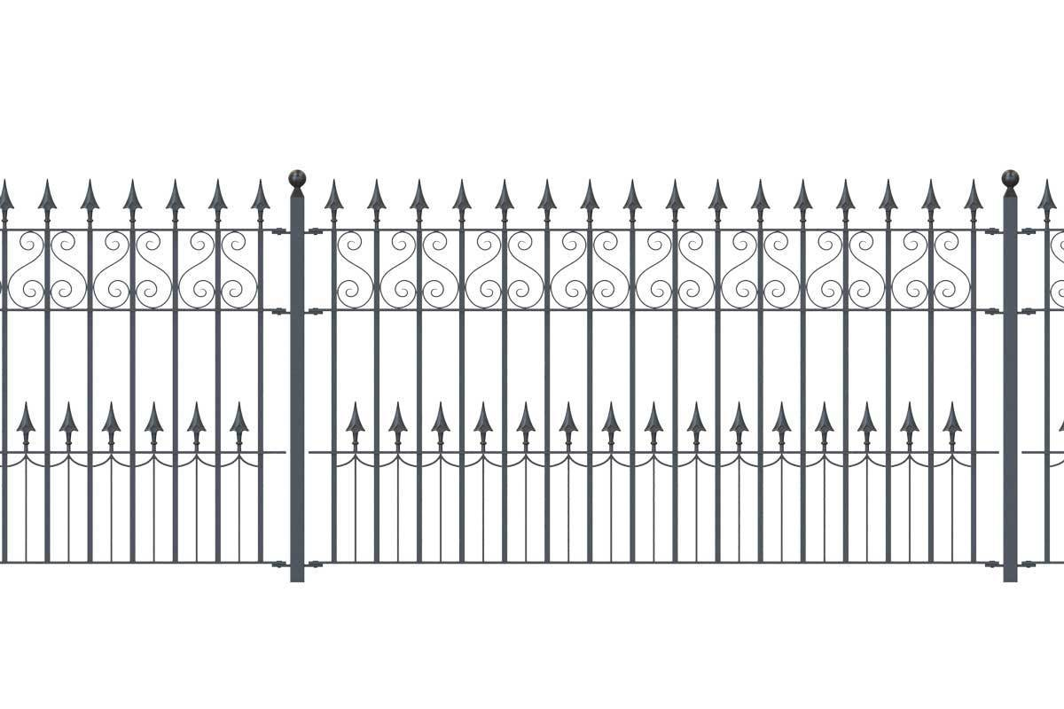 Railings - Canterbury - Style 16C - Wrought Iron Swan Decorative Railing