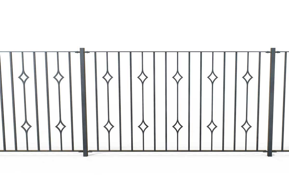 Railings - Newquay - Style 21A - Wrought Iron Double Astral Pattern Decorative Railing