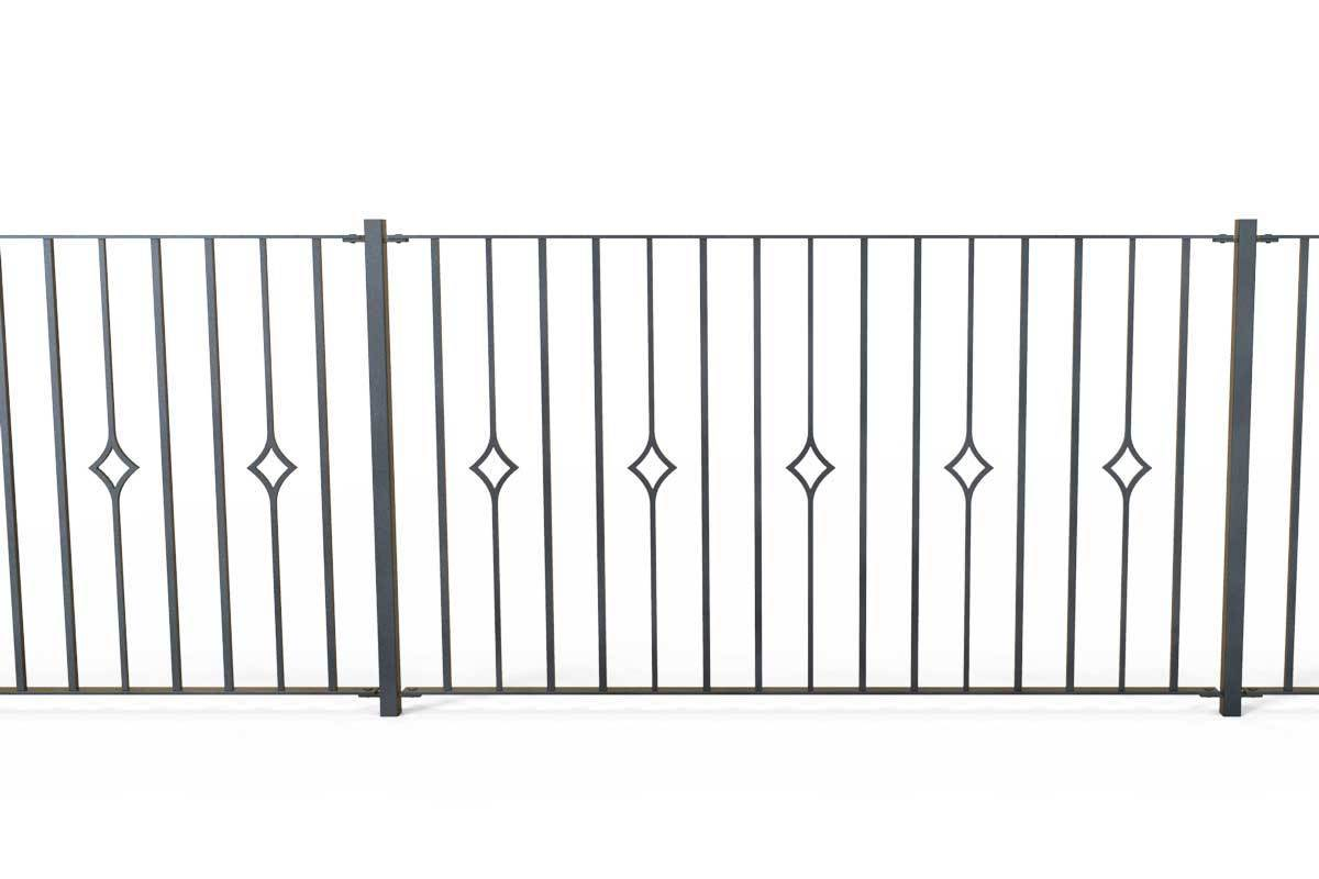 Railings - Newquay - Style 21B - Wrought Iron Single Astral Pattern Decorative Railing