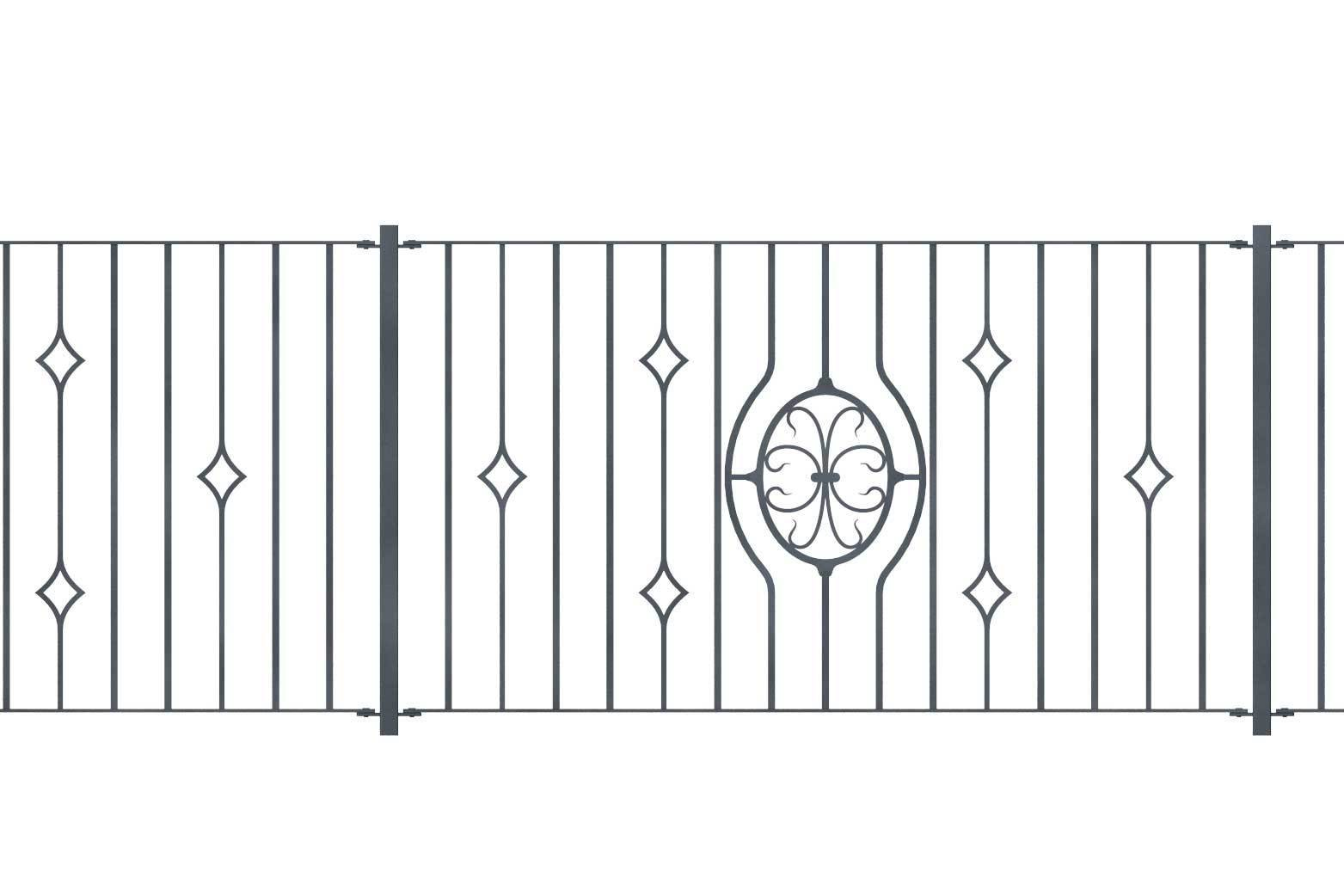 Railings - Newquay - Style 21D - Wrought Iron Railing With Double Astral Pattern And Martel Panel