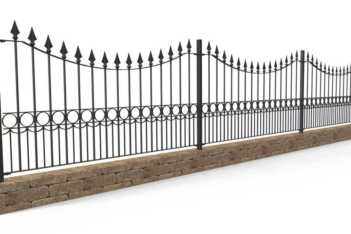 Railings - Somerset - Style 12B - Quantock - Variable Height Iron Railing