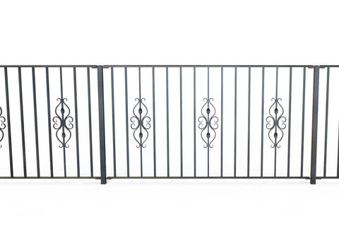 Newquay - Style 21B - Wrought Iron Single Astral Pattern Decorative Railing