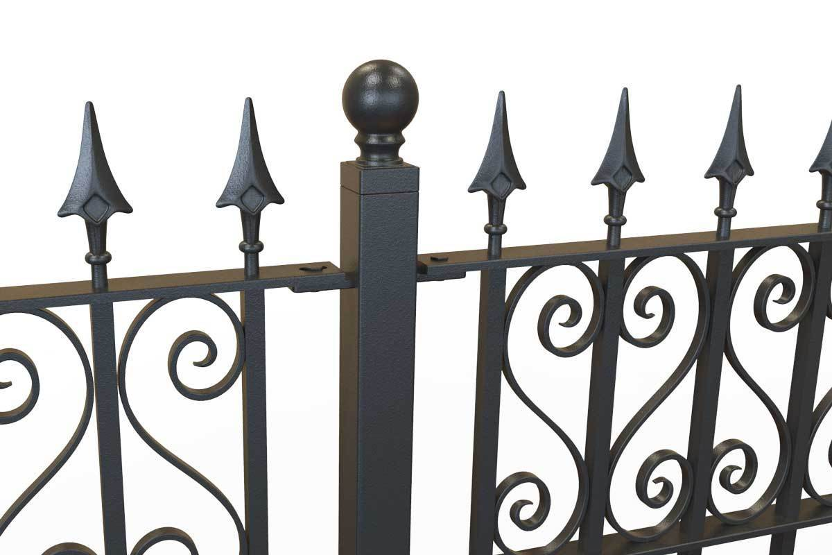 Tall Railings - Canterbury - Style 16D - Tall Wrought Iron Railing With Hearts