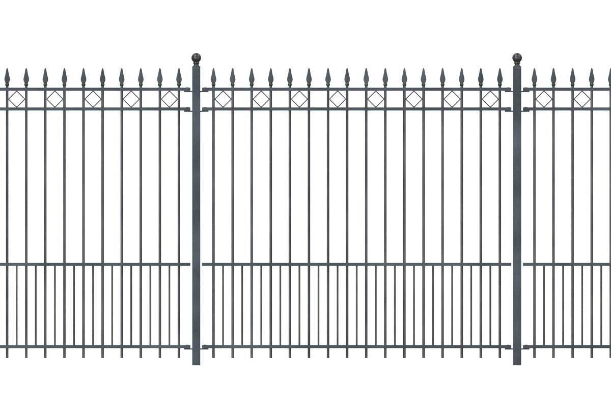 Tall Railings - London - Style 22 - Tall Wrought Iron Railing With Extended Bars