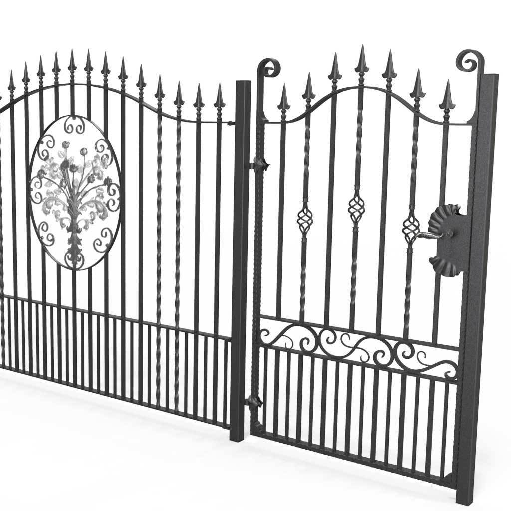 Tall Railings - Marlborough - Style 6 - Tall Iron Railing With Decorative Flower Panel