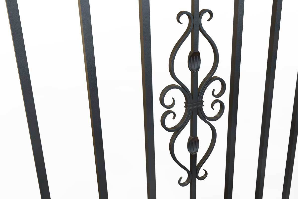 Tall Railings - St Albans - Style 17C - Tall Wrought Iron Railing With Dog Bars