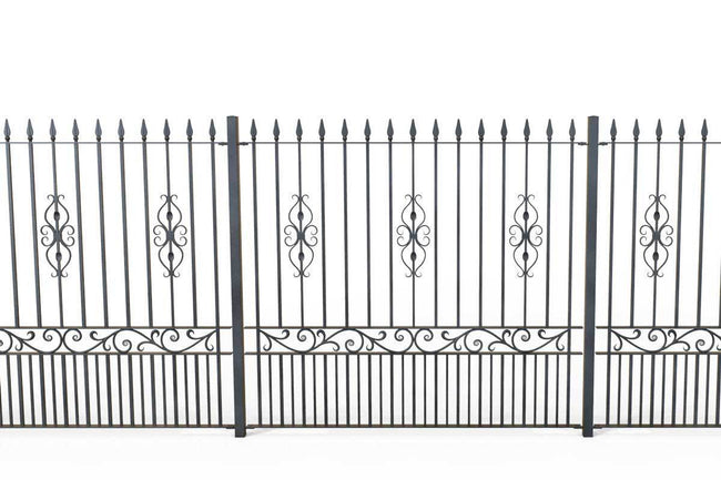 Tall Railings - St Albans - Style 17D - Tall Wrought Iron Railing With Decorative Panels And Dog Bars
