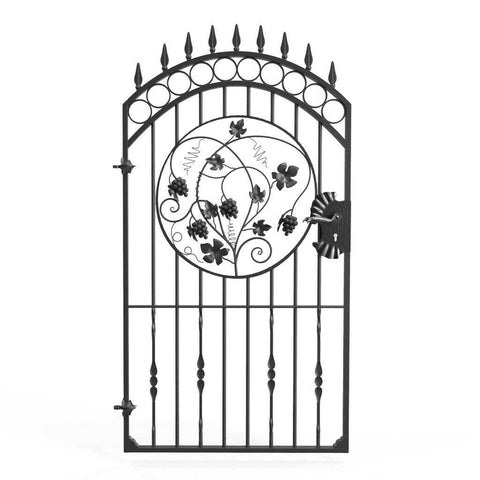 Salisbury - Style 1C - Tall wrought iron side gate with decorative panel, rail heads and lock