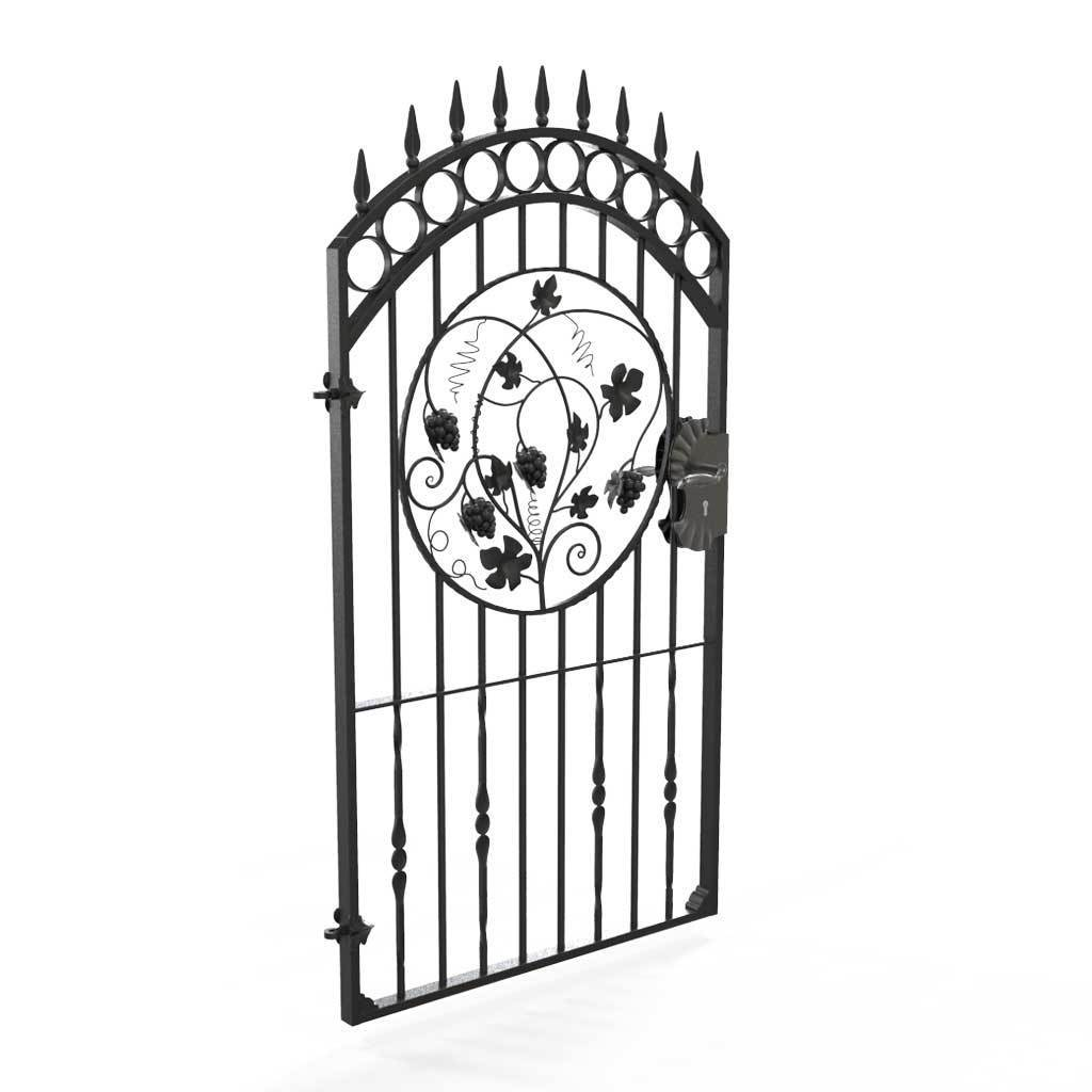 Tall Wrought Iron Side Gate - Clifton - Style 5C - Tall Wrought Iron Gate With Lock And Decorative Panel