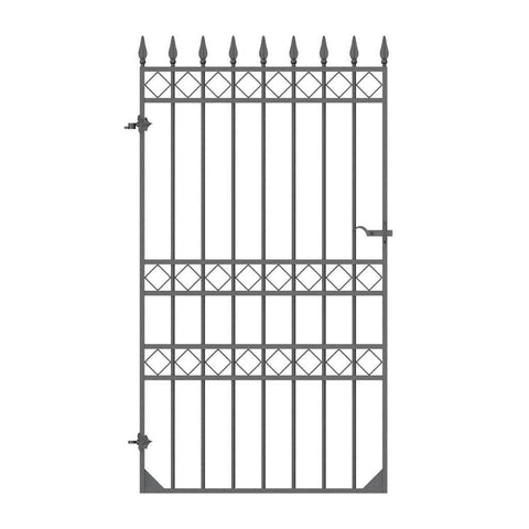 Salisbury - Style 1A - Tall wrought iron side gate with decorative panel, gate topper and lock