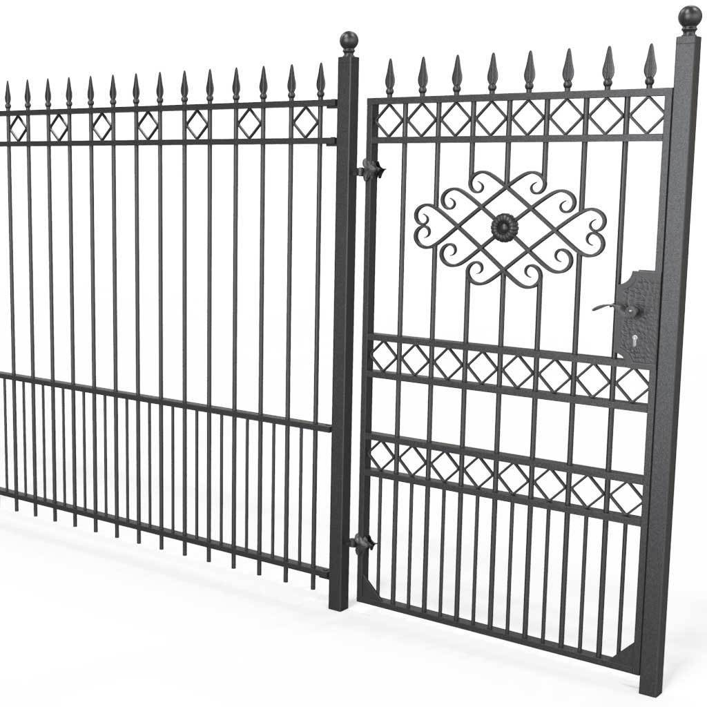Tall Wrought Iron Side Gate - London - Style 3B - Tall Wrought Iron Gate With Rectangular Lock