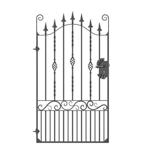 Clifton - Style 5C - Tall wrought Iron gate with lock and decorative panel