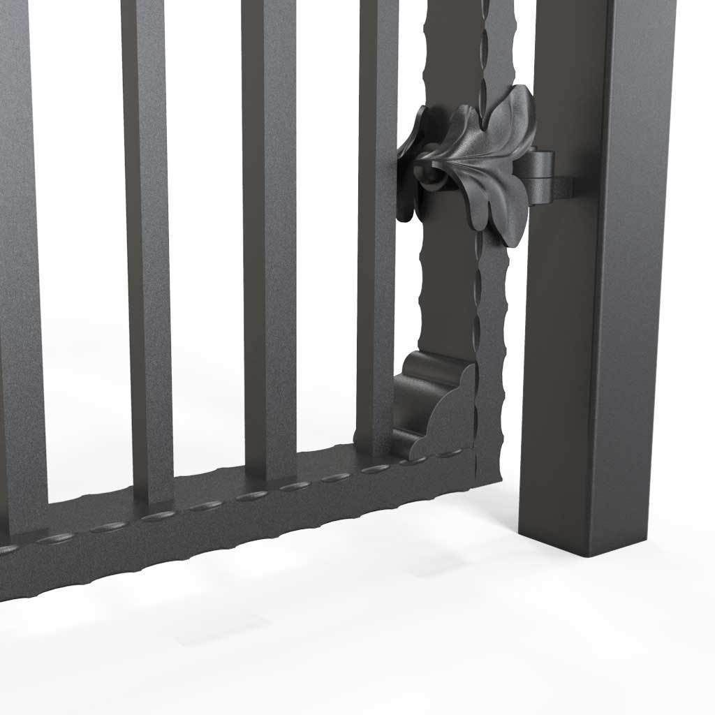 Tall Wrought Iron Side Gate - Marlborough - Style 2A - Tall Side Gate With Decorative Panels And Decorative Lock