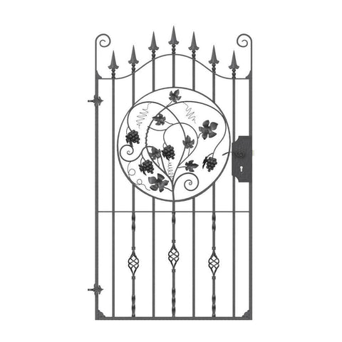 Marlborough - Style 2A - Tall side gate with decorative panels and decorative lock