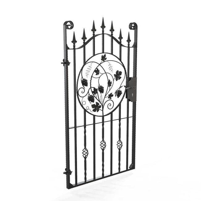 Tall Wrought Iron Side Gate - Marlborough - Style 2D - Tall Wrought Iron Gate With Lock And Grape Decorative Panel