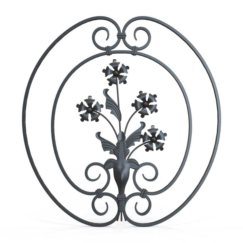 Tall Wrought Iron Side Gate - Salisbury - Style 1C - Tall Wrought Iron Side Gate With Decorative Panel, Rail Heads And Lock