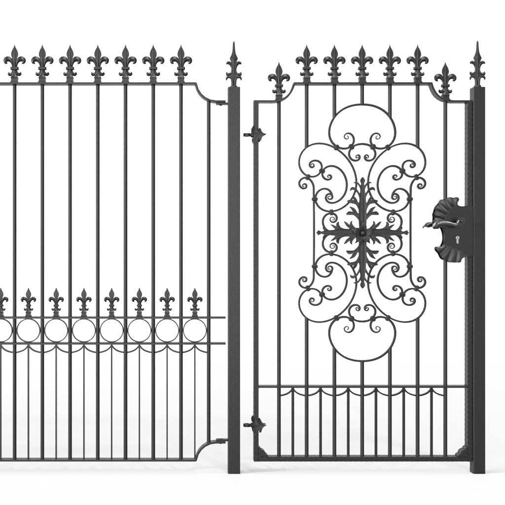 Tall Wrought Iron Side Gate - Salisbury - Style 1D - Tall Gate With Large Panel And Decorative Lock