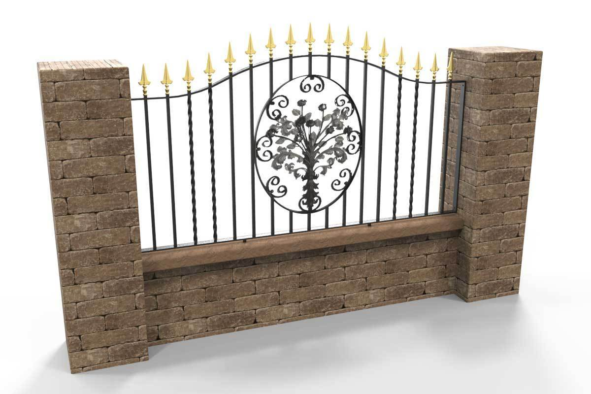 Wall Top Railings - Marlborough - Style 6B - Wall Railing - With Decorative Flower Panel