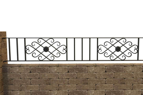 Marlborough - Style 6B - Wall Railing - With decorative flower panel