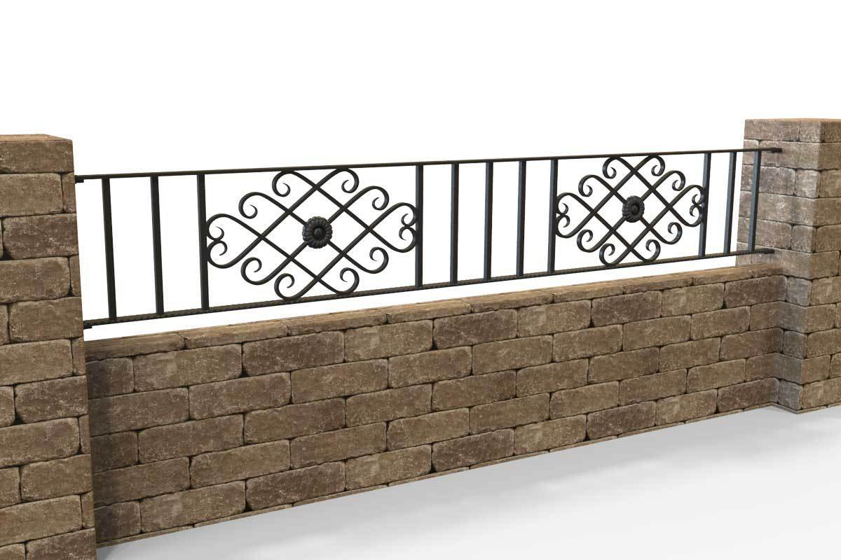 Wall Top Railings - Pevmere - Style 20A - Wall Railing - With Wrought Iron Pomeroy Decorative Panels