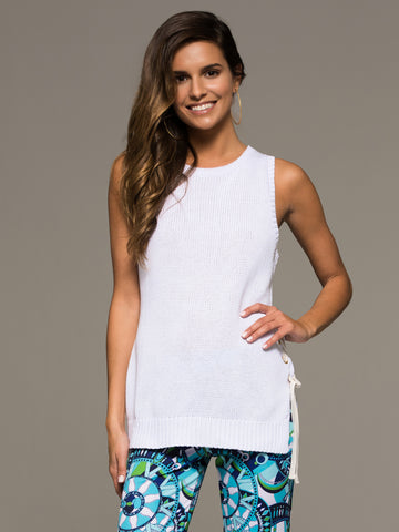 White Tie Up Knit Tank - White