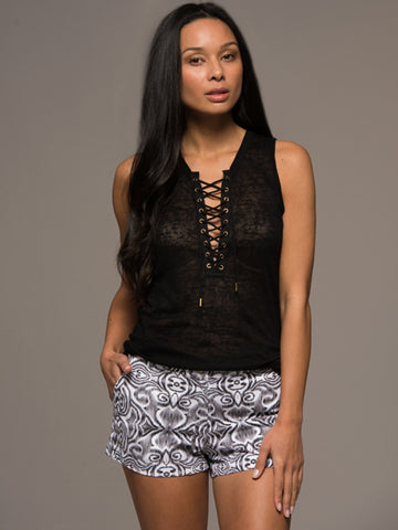 Black Lace Up Tank - Black