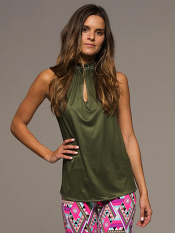 Army Green Keyhole Top - Army Green