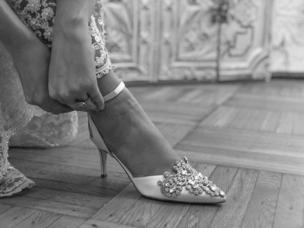 Closeup of bridal shoe