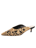 Womens Black Satin Scroll Kitten Heel Mule