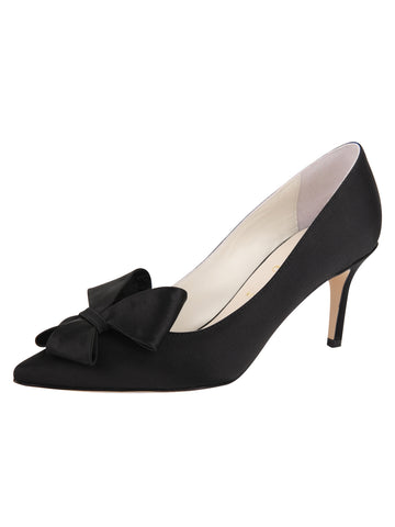 Womens Black Satin Pointed Toe Pump Alternate View