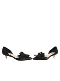 Black satin d'Orsay kitten heel 5