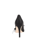 Womens Black Satin Sasha Pointed Toe Pump 2