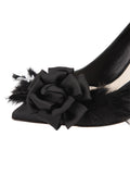 Womens Black Satin Sasha Pointed Toe Pump 6