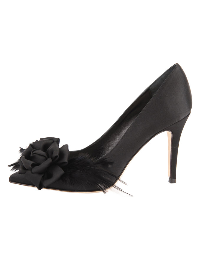 Womens Black Satin Sasha Pointed Toe Pump 7