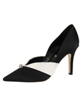 Womens Black/White Selah Pointed Toe Pump